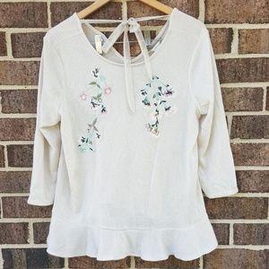 Lauren Conrad Peplum Top Embroidered Floral Cream